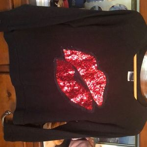 Sweater with red sequins appliqué sizeXS